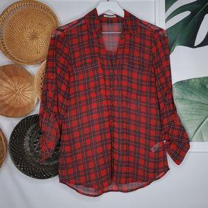 Experess Portofino Red Sheer Plaid Button Up S